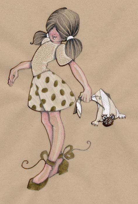 petite fille en jupe à pois qui tient son doudou grenouille