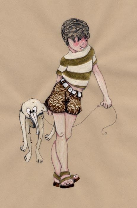 un petit garçon en ballade avec un doudou bizarre