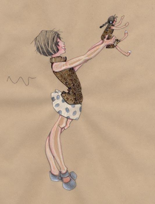 fillette qui brandit sa poupée