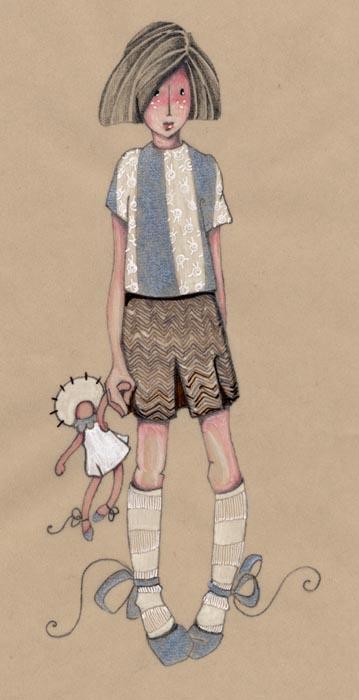 dessin d'une petite fille qui tient sa poupée doudou