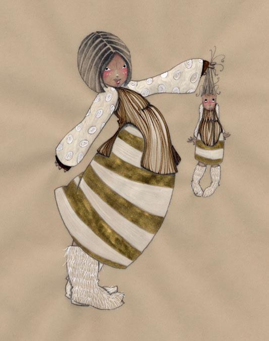 la petite inuite tire les cheveux de sa poupée