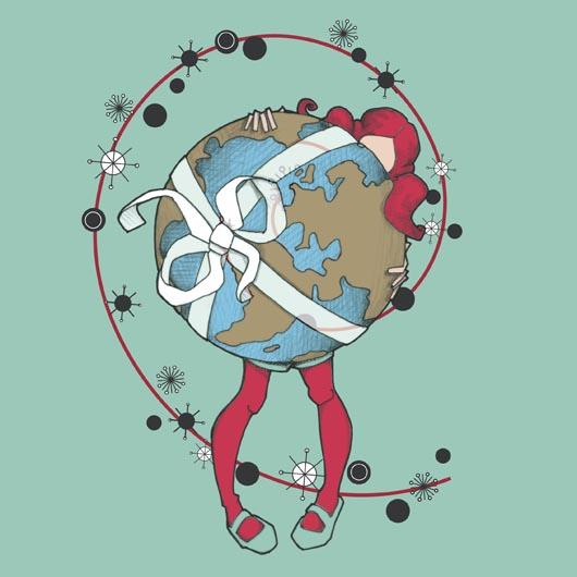 Petite fille portant la terre en paquet cadeau