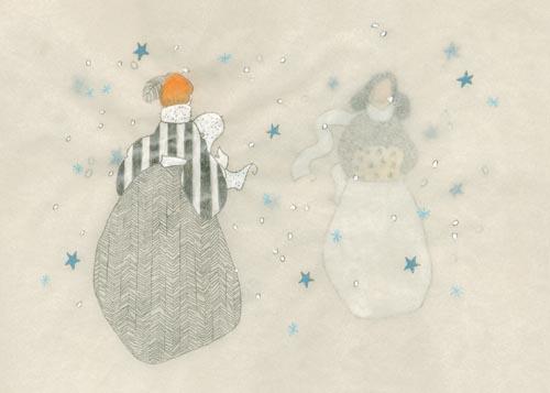 des femmes marchent dans le brouillard