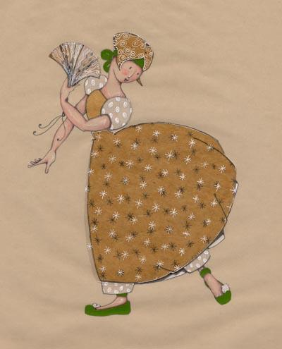 jeune fille avec un évantail qui fait des pas de danse