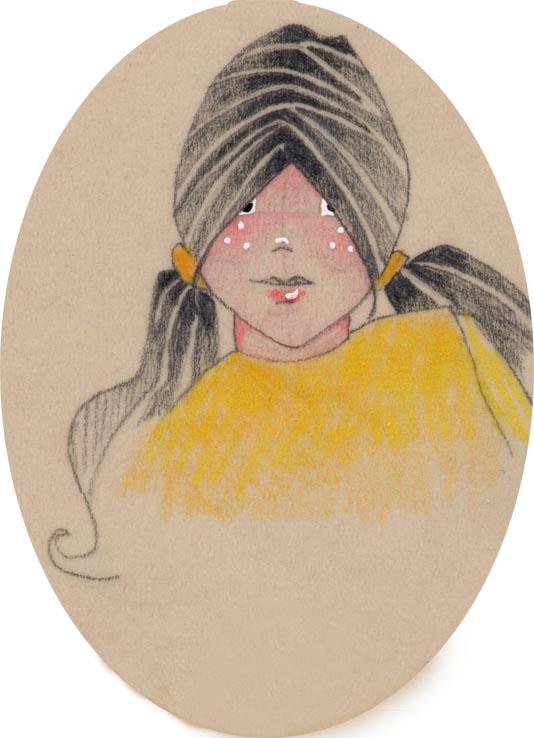 visage de petite fille au pull jaune