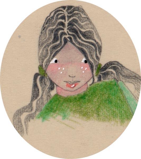 visage de fille au pull vert