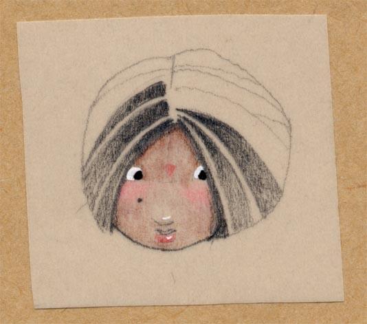 visage de petite fille indienne