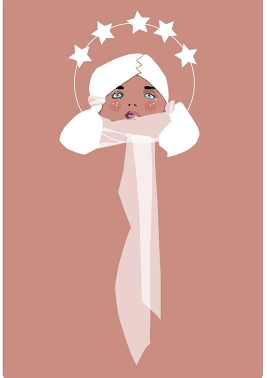 femme étoilée avec un foulard